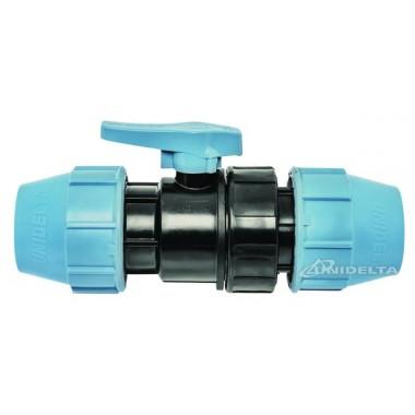 Кран шаровый компрессионный 20х20 для ПЭ труб РР-В Unidelta