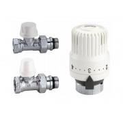 Комплект прямих радіаторних кранів Caleffi 1/2 з термоголовкою (4221402)