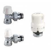 Комплект кутових радіаторних кранів Caleffi 1/2 з термоголовкою (4220402)