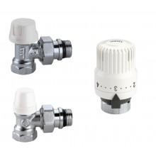 Комплект угловых радиаторных кранов Caleffi 1/2 с термоголовкой (4220402)