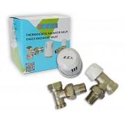 Комплект E.C.A. термоголовка+відсікач 1/2 кутовий+термостатичний кран (ЗА003)