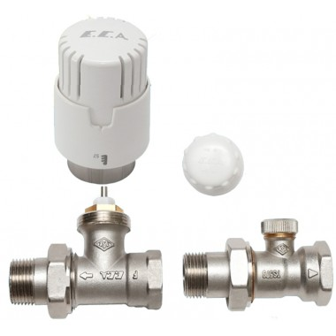 Комплект E.C.A. термоголовка+відсікач 1/2 прямий+термостатичний кран (ЗА078)